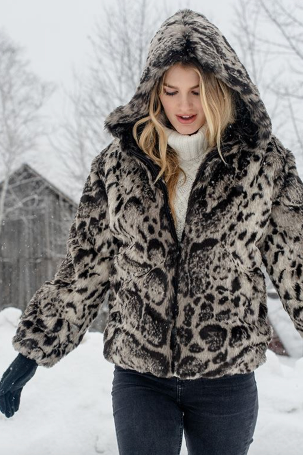 Fabulous Furs Hooded Zip Parka - Front Full Image
