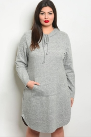 Wholesale Fashion Square Hoodie Dress - Gray - Product Mini Image