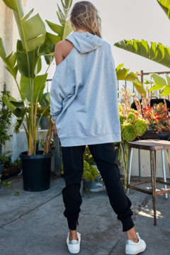 main strip  Hoodie with Cut Out Shoudler - Alternate List Image