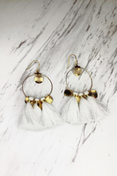 Shoptiques Product: Hoop Earring With White Tassels