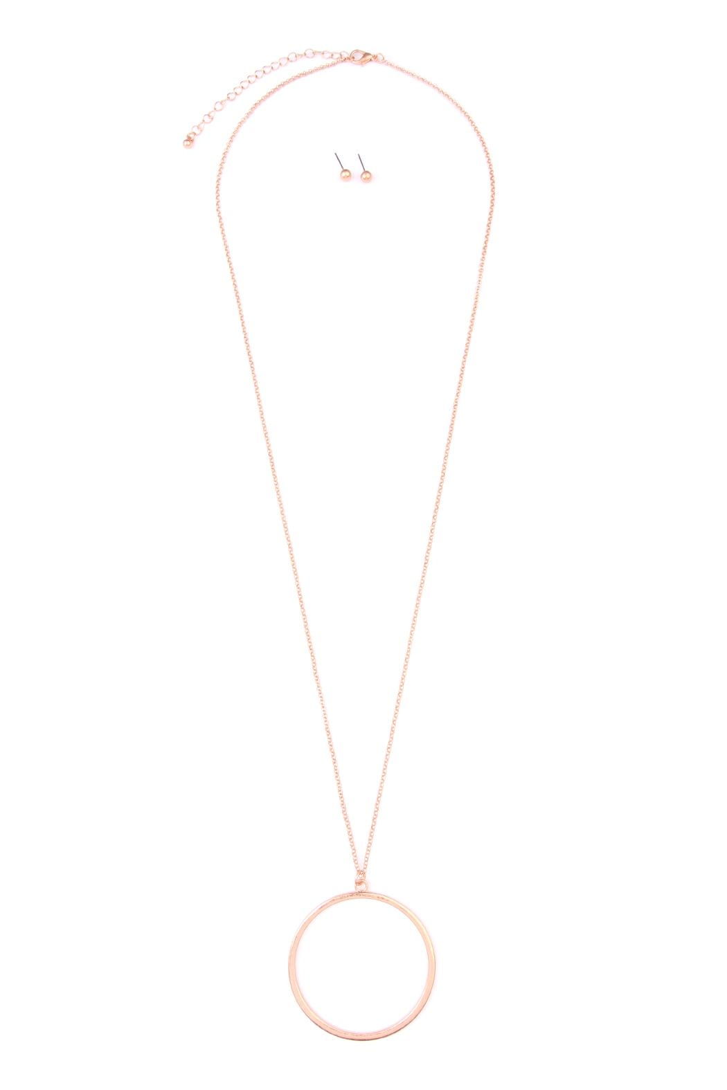 Riah Fashion Hoop Pendant Necklace-Earring-Set - Main Image