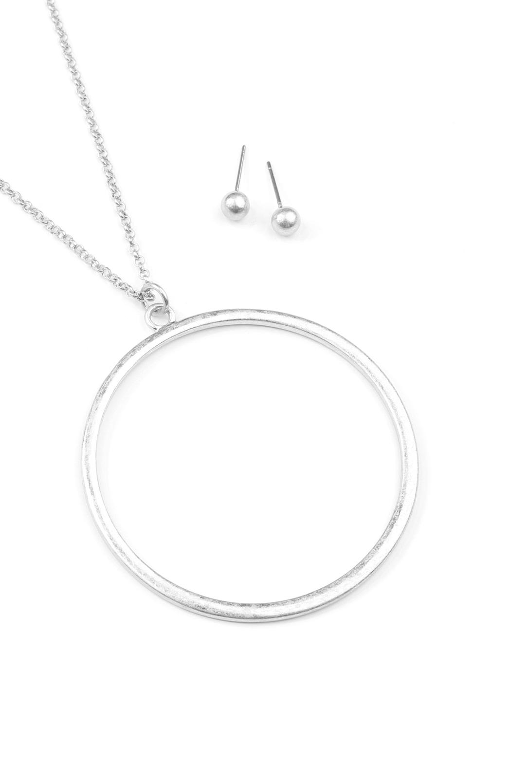 Riah Fashion Hoop Pendant Necklace-Earring-Set - Front Full Image