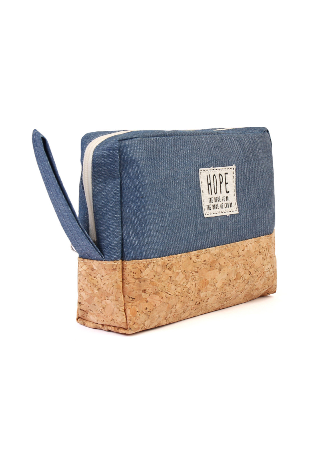 TPO HOPE Blue Canvas Cosmetic Pouch - Front Full Image