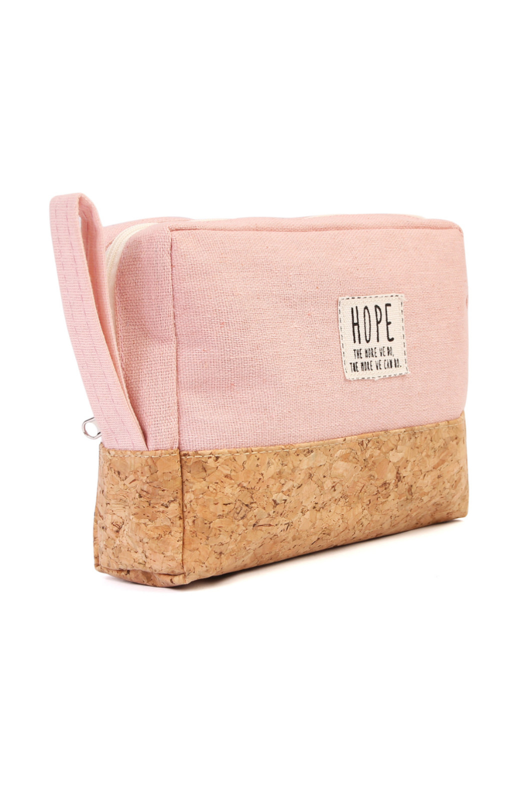 TPO HOPE Pink Canvas Cosmetic Pouch - Front Full Image