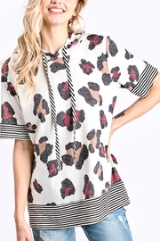 Hopely Animal Print Short Sleeve Hoodie - Front cropped