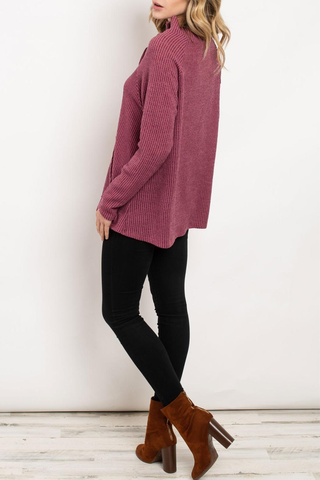 Hopely Mauve Turtleneck Sweater - Front Full Image