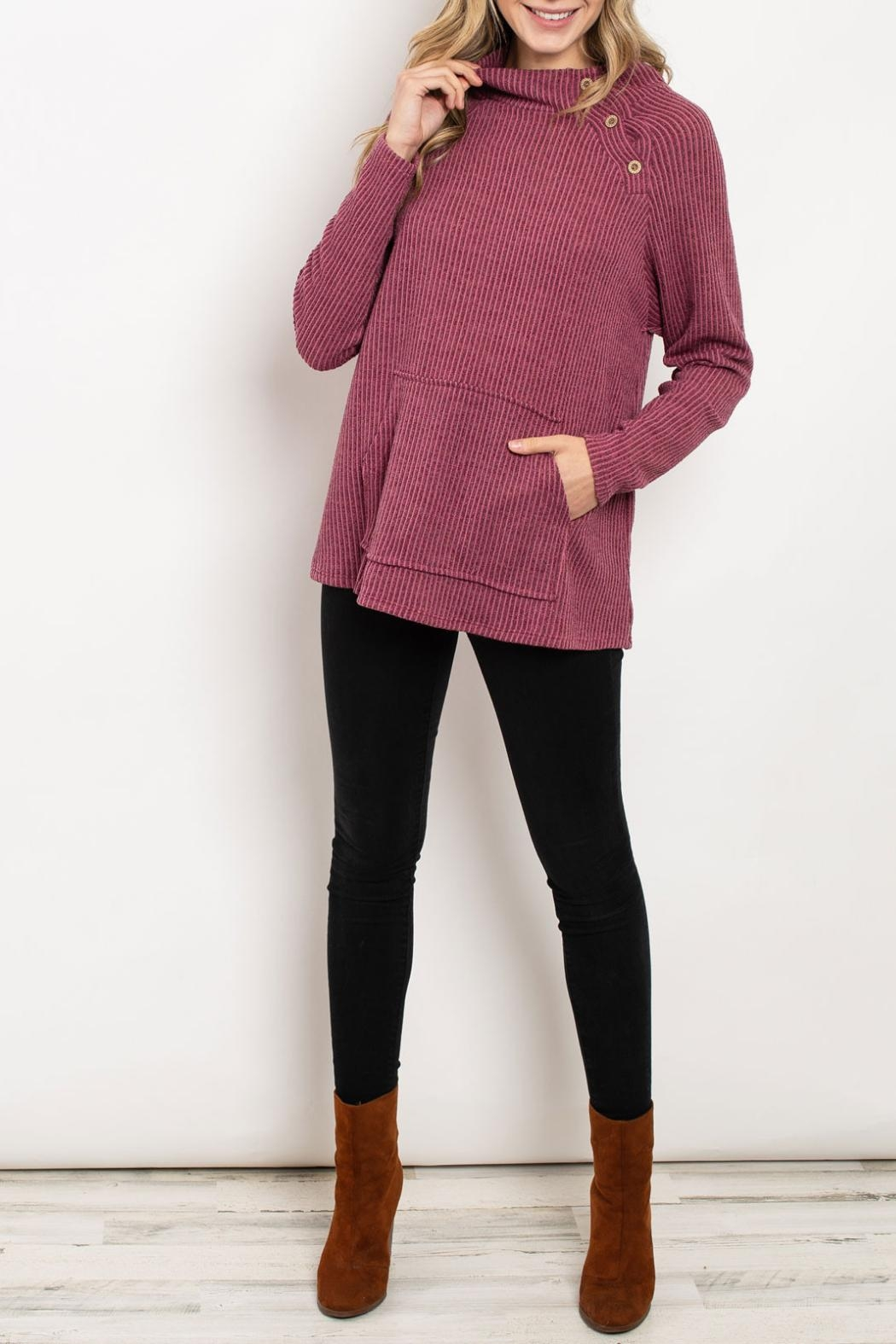 Hopely Mauve Turtleneck Sweater - Front Cropped Image