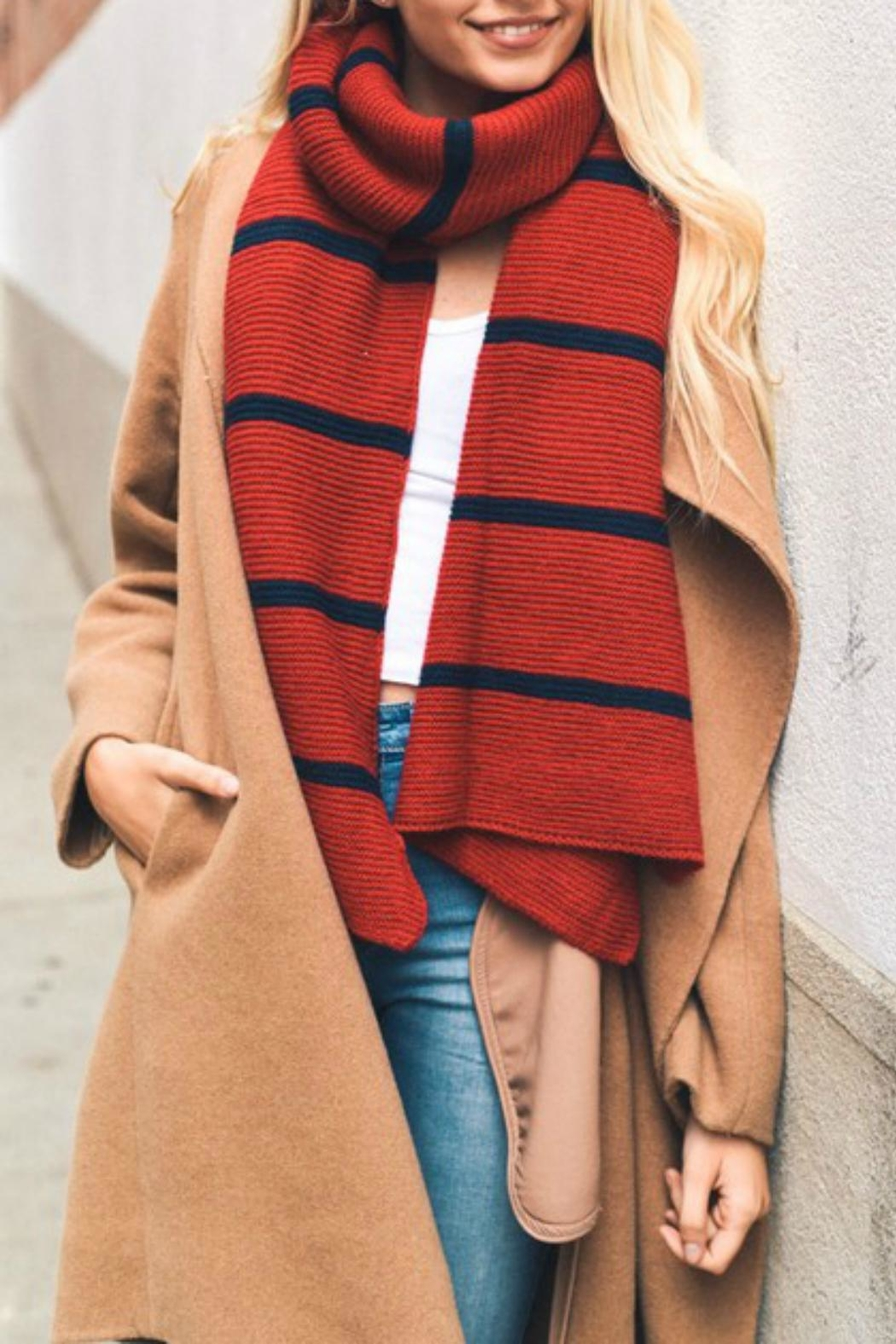 Pretty Little Things Horizontal Stripe Scarf - Front Cropped Image