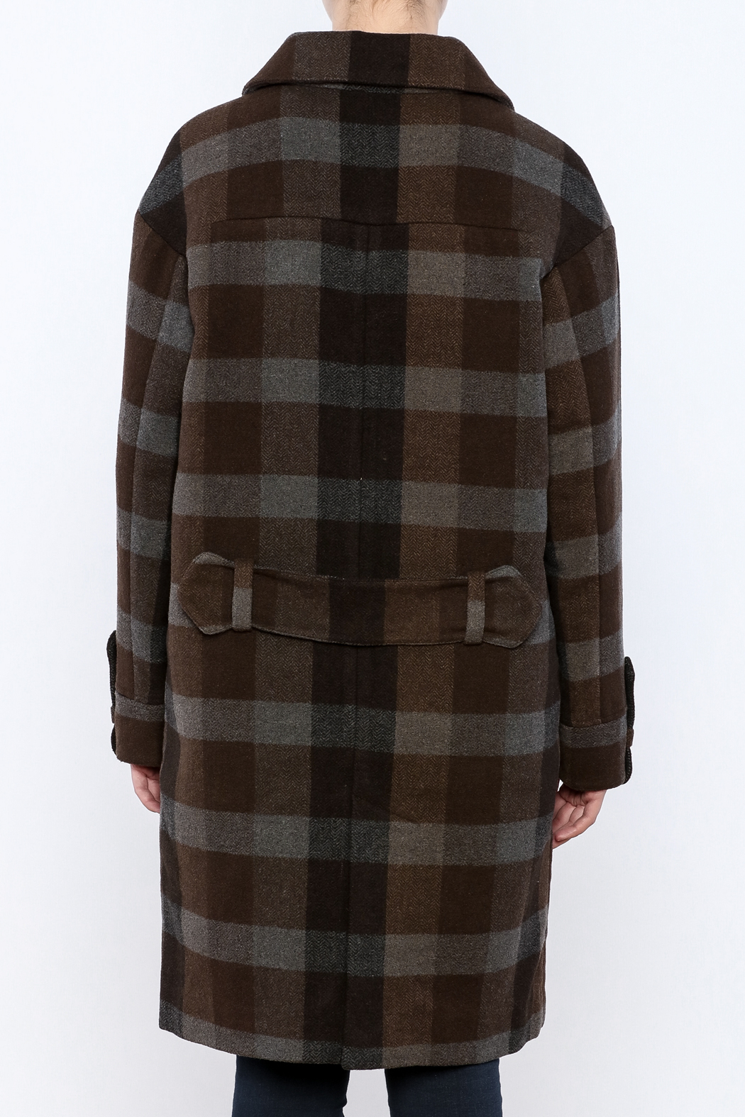Hoss Intropia Checked Plaid Coat - Back Cropped Image