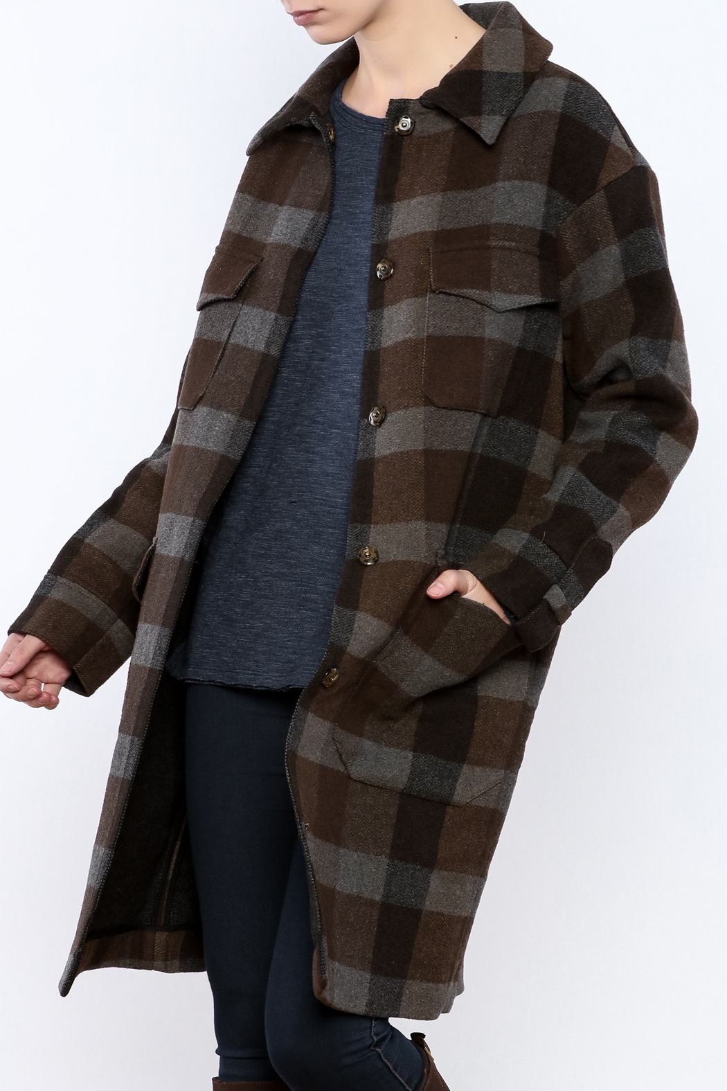 Hoss Intropia Checked Plaid Coat - Main Image
