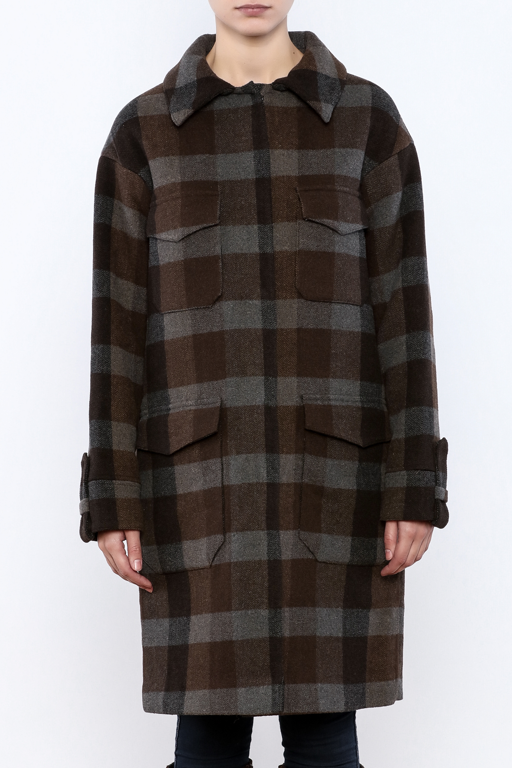 Hoss Intropia Checked Plaid Coat - Side Cropped Image