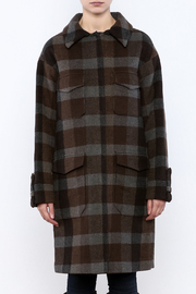 Hoss Intropia Checked Plaid Coat - Side cropped