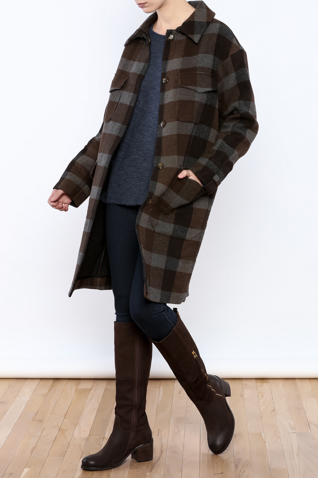 Hoss Intropia Checked Plaid Coat - Front Full Image