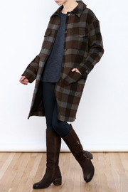 Hoss Intropia Checked Plaid Coat - Front full body