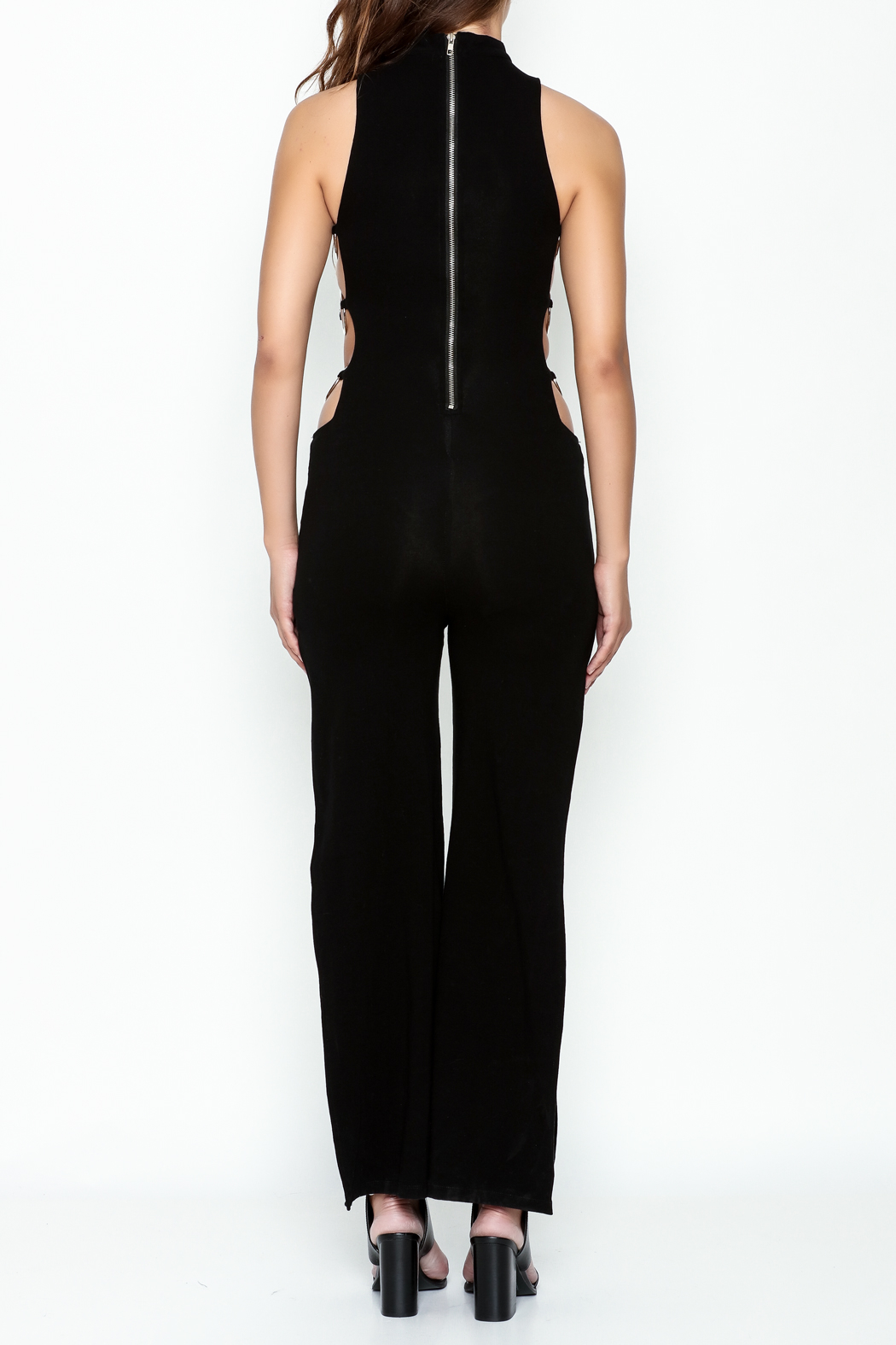 Hot & Delicious Black Widelong Jumpsuit - Back Cropped Image