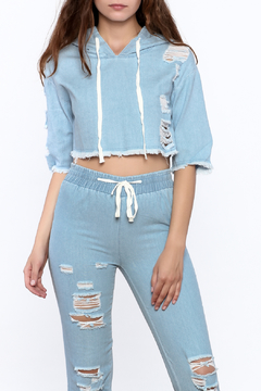 Hot & Delicious Distressed Denim Crop Top - Product List Image