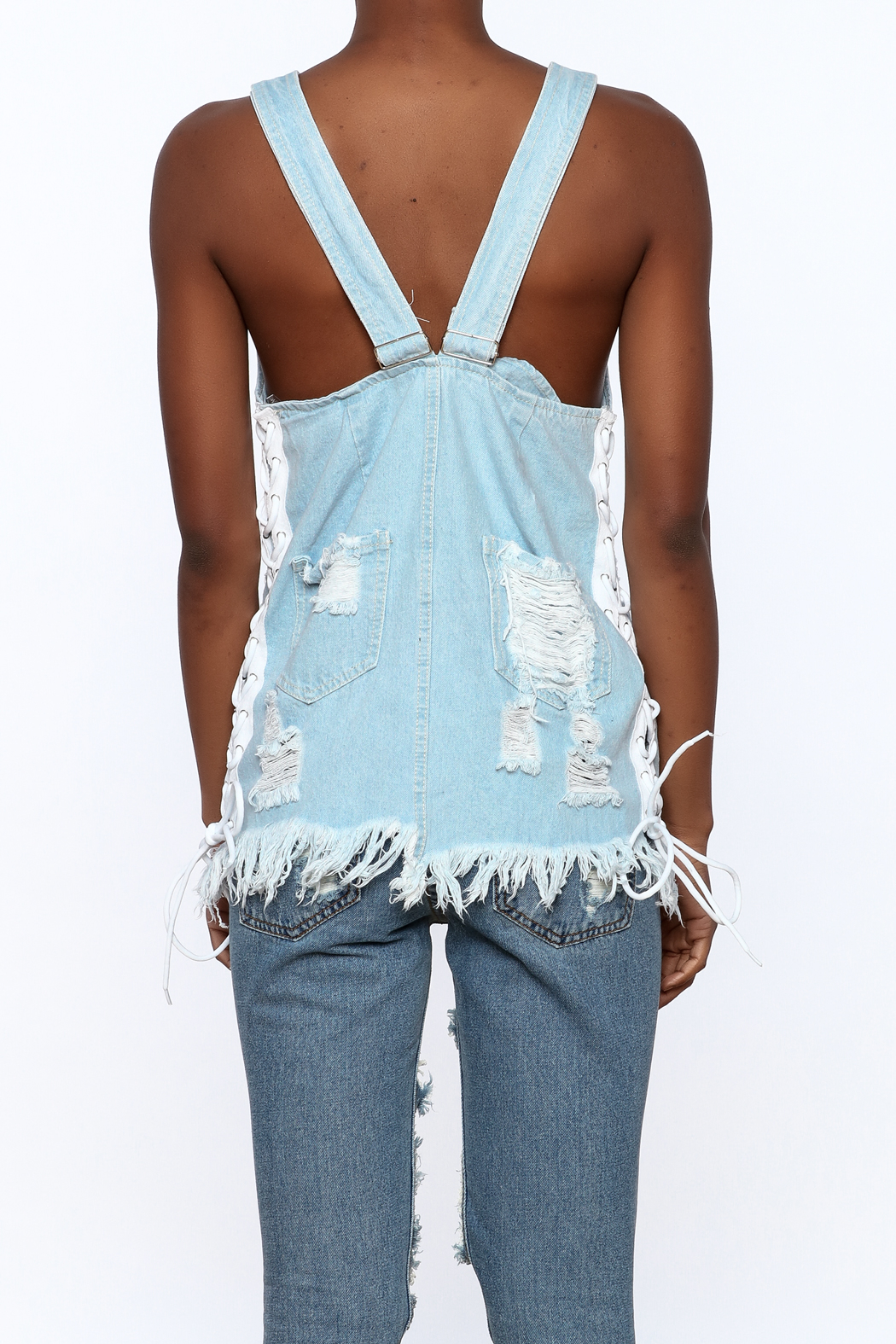 Hot & Delicious Distressed Sleeveless Denim Top - Back Cropped Image