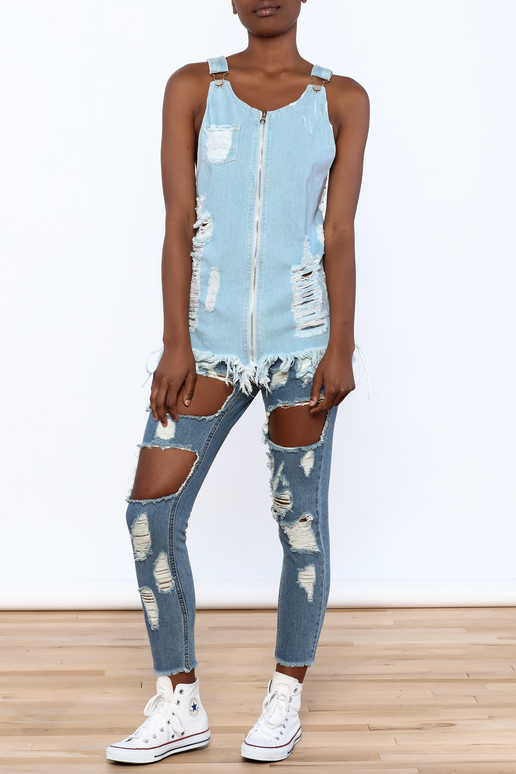 Hot & Delicious Distressed Sleeveless Denim Top - Front Full Image
