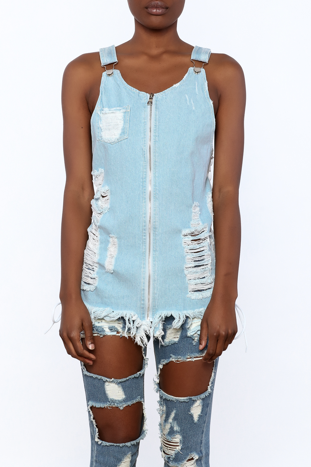 Hot & Delicious Distressed Sleeveless Denim Top - Side Cropped Image
