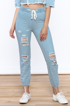 Shoptiques Product: Distressed Denim Jogger Pants
