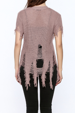 Shoptiques Product: Short Sleeve Distressed Sweater