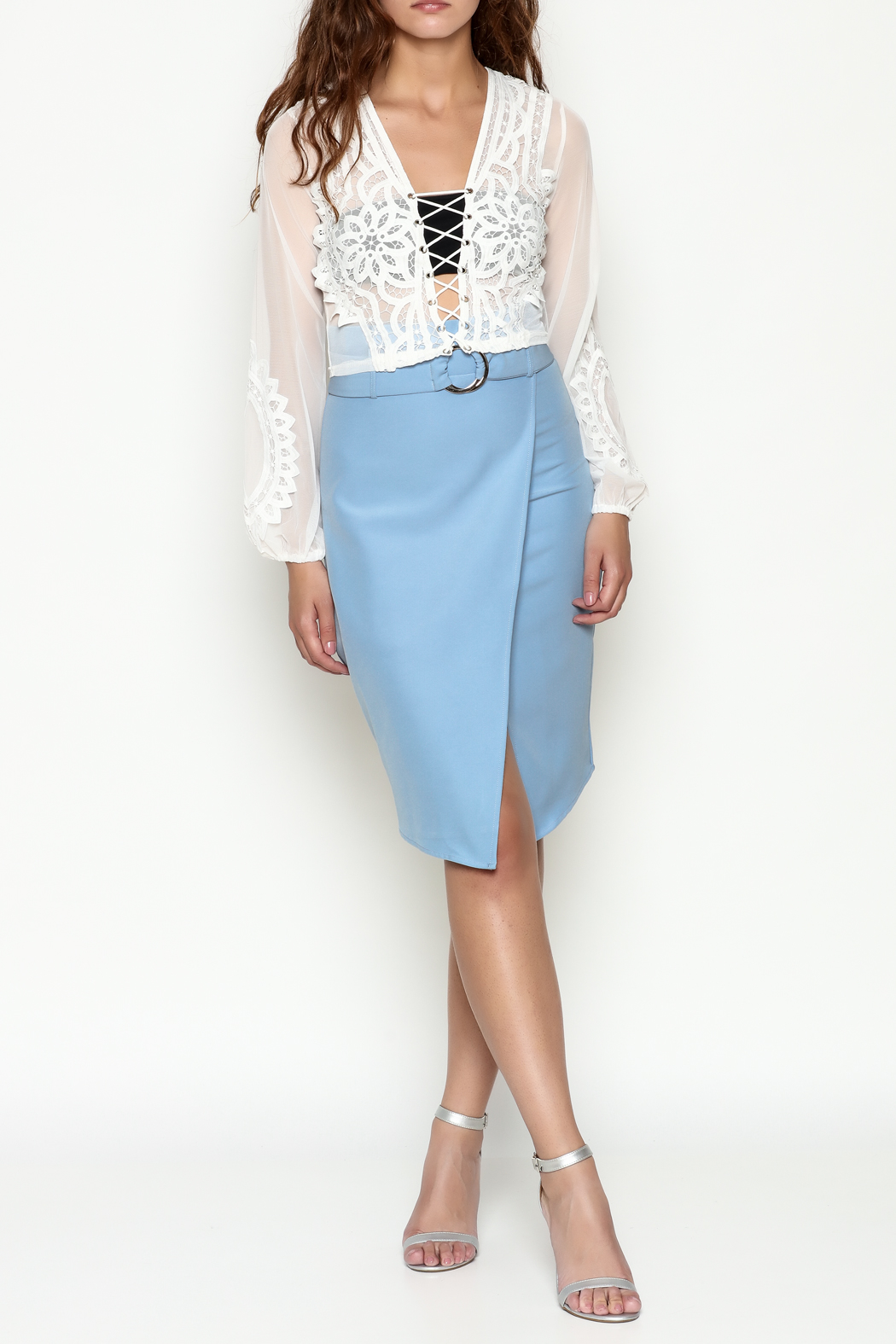 Hot & Delicious Lace Cropped Blouse - Side Cropped Image