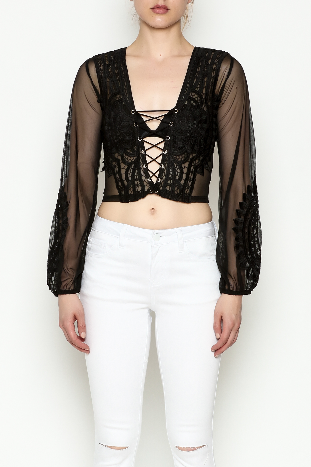 Hot & Delicious Lace Cropped Blouse - Front Full Image