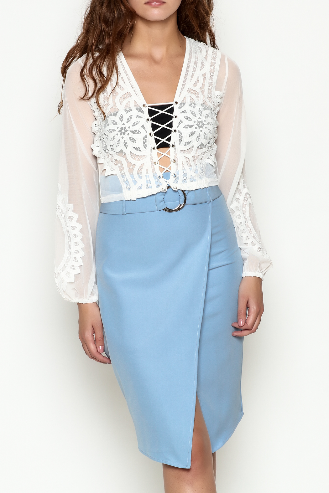 Hot & Delicious Lace Cropped Blouse - Main Image