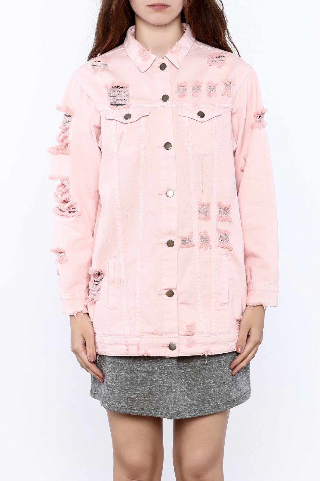 Hot  Delicious Pink Denim Jacket From New York City By -9796