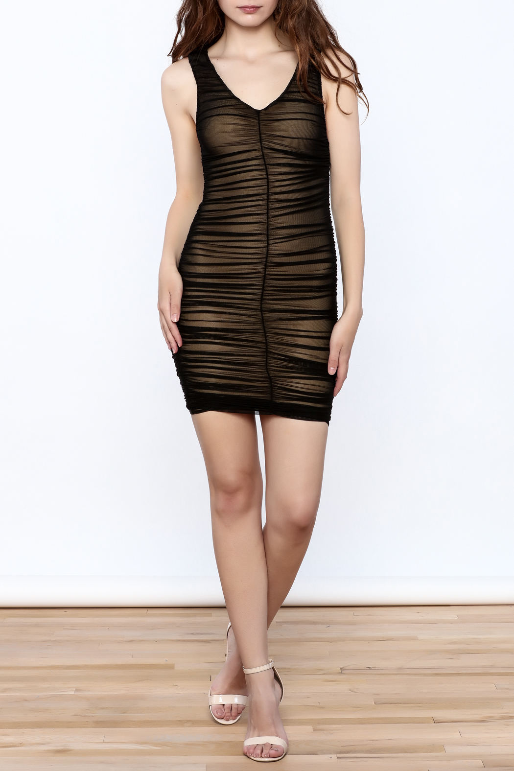 Hot & Delicious Black Sleeveless Ruched Dress - Front Full Image