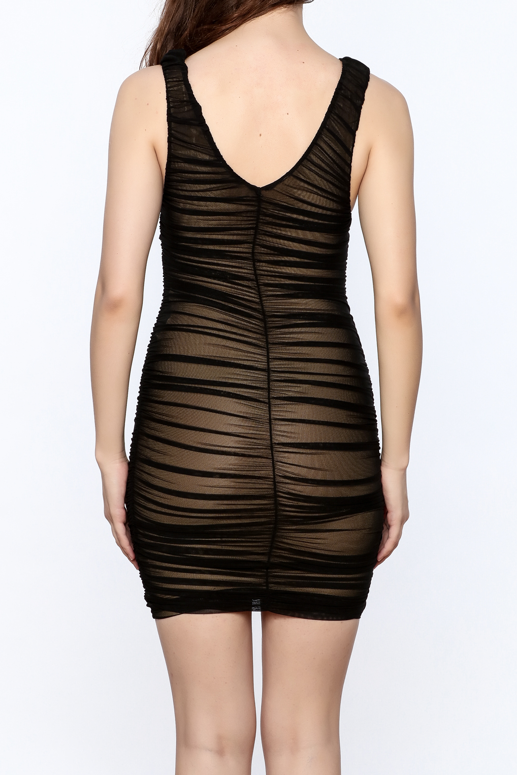 Hot & Delicious Black Sleeveless Ruched Dress - Back Cropped Image