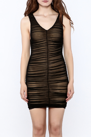 Hot & Delicious Black Sleeveless Ruched Dress - Side cropped