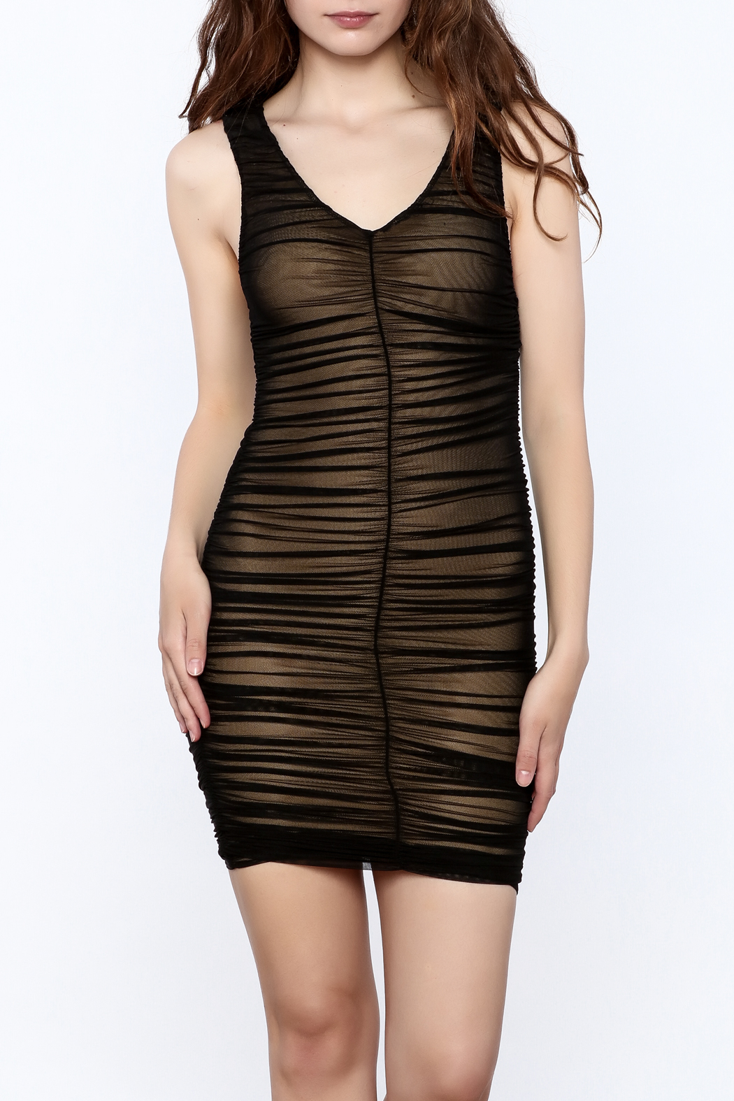 Hot & Delicious Black Sleeveless Ruched Dress - Front Cropped Image