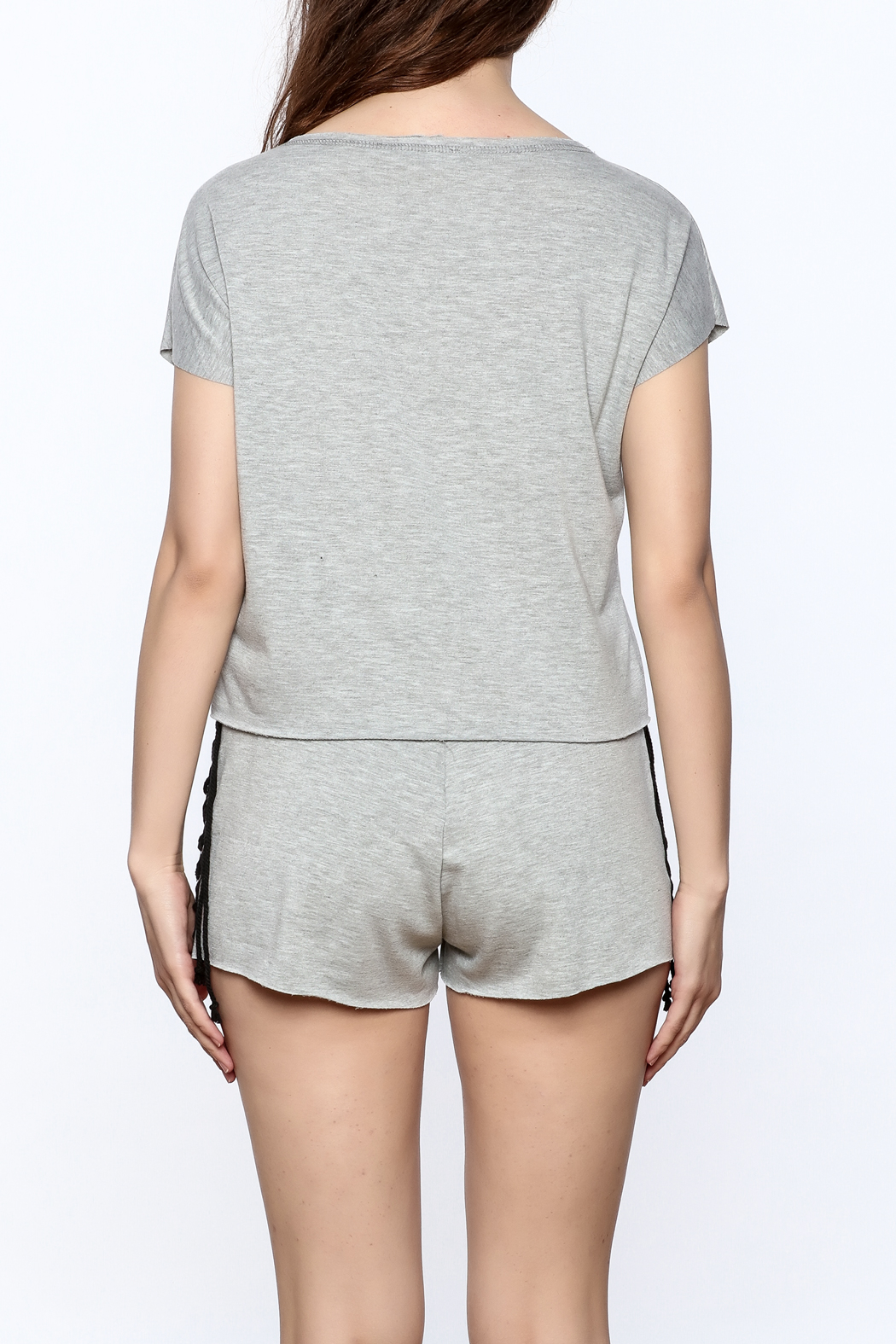 Hot & Delicious Grey Graphic Matching Set - Back Cropped Image