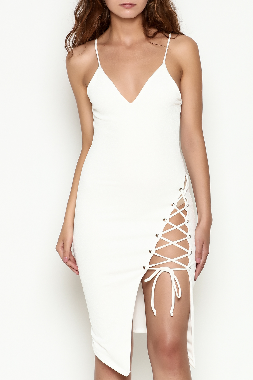 Hot & Delicious Tie Up White Dress - Front Cropped Image
