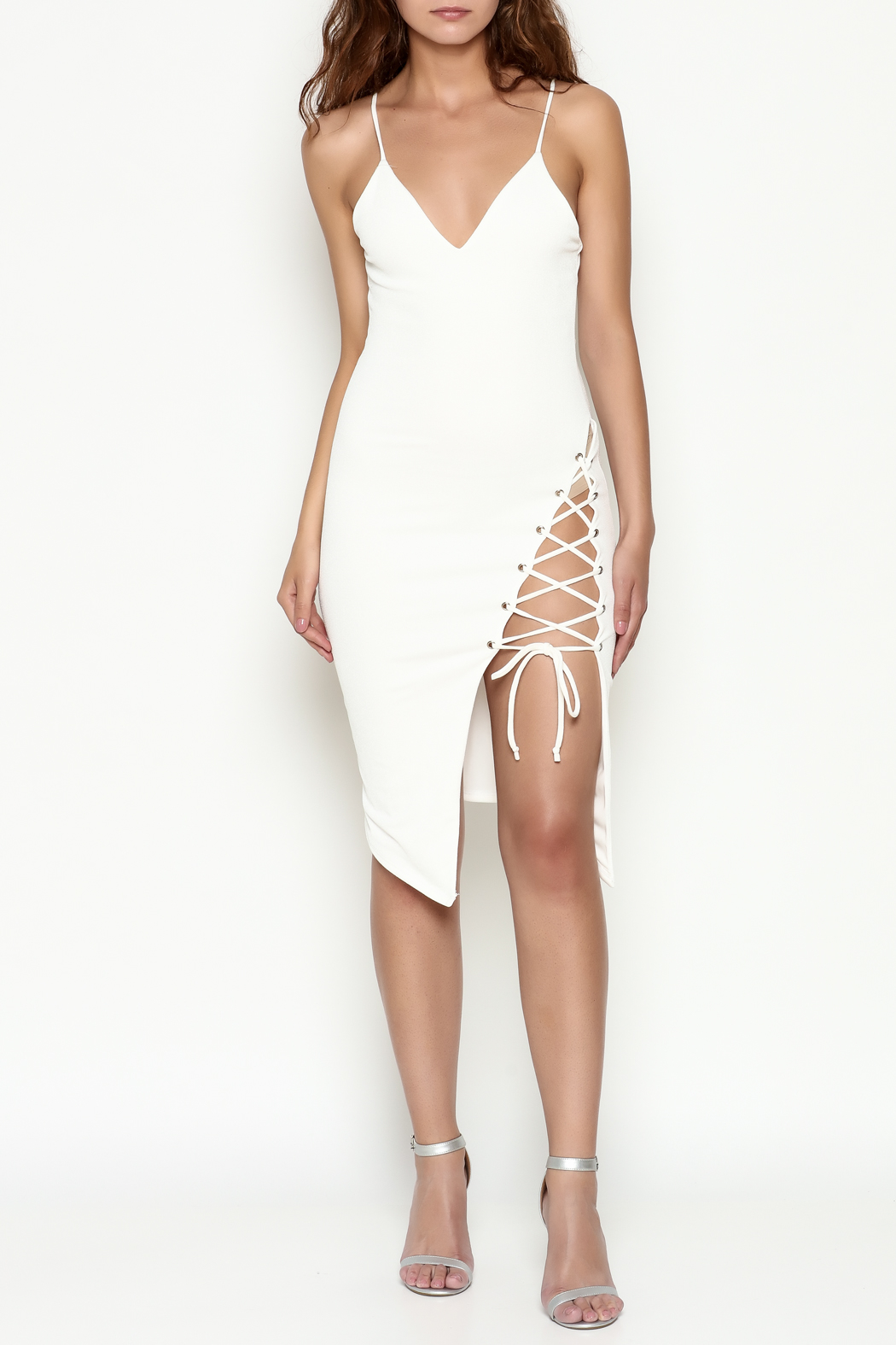 Hot & Delicious Tie Up White Dress - Side Cropped Image