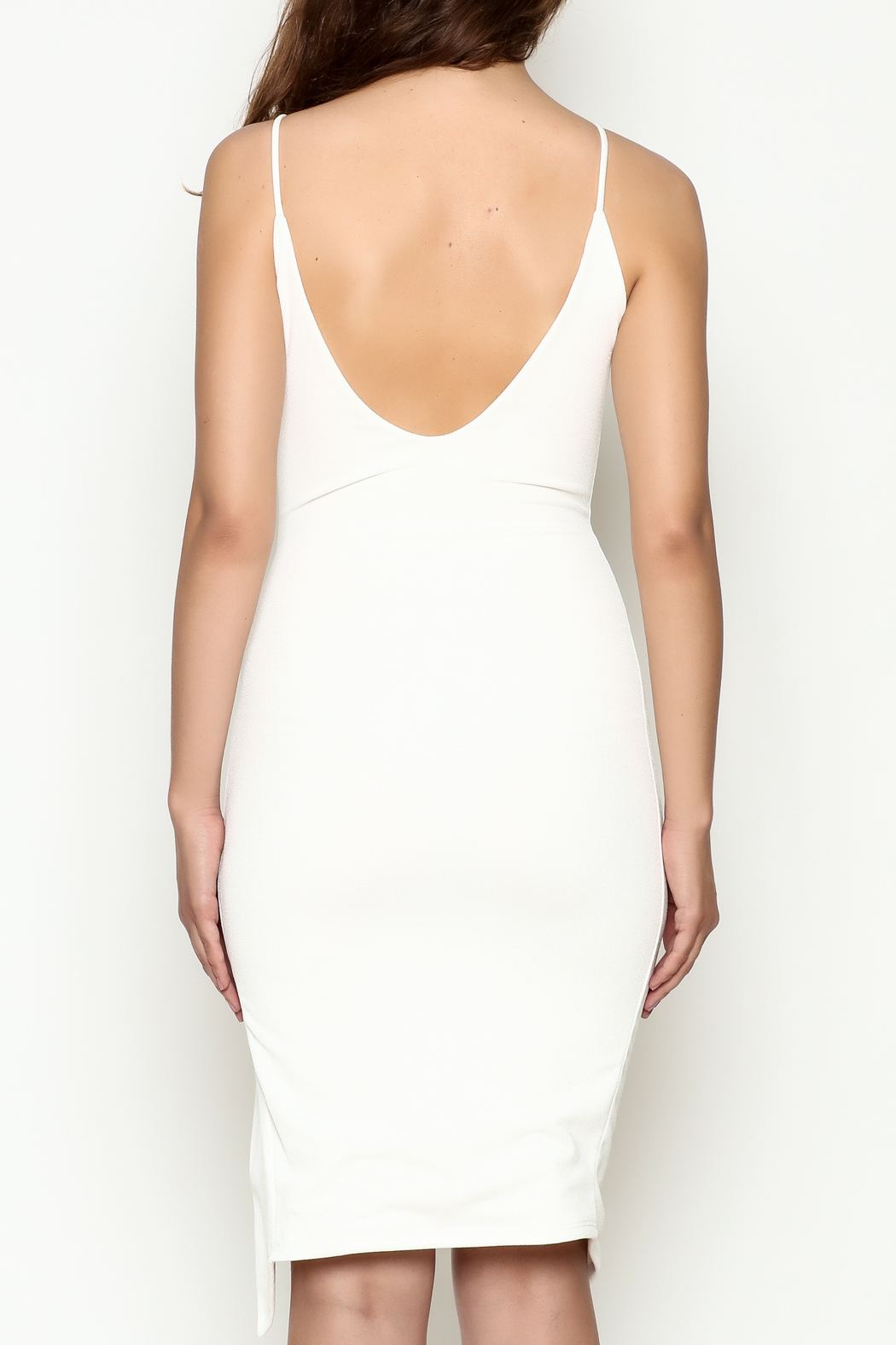 Hot & Delicious Tie Up White Dress - Back Cropped Image