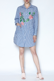 Hot & Delicious Striped Embroidered Dress - Front full body