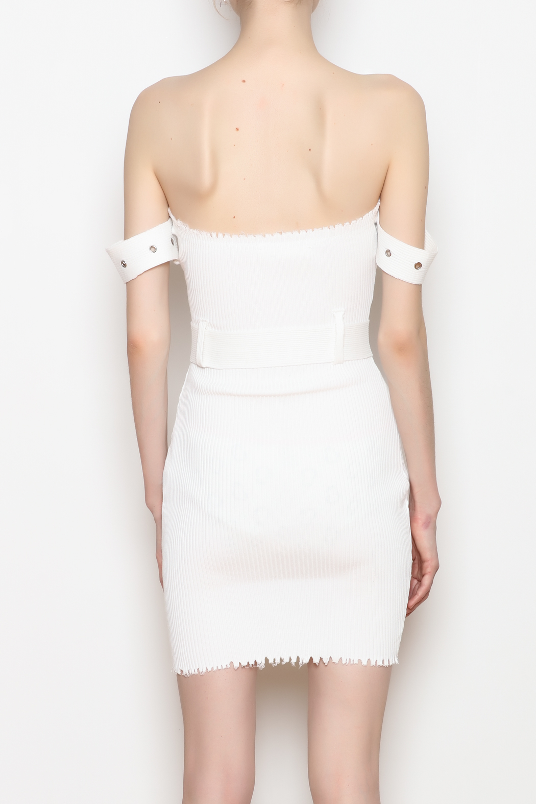 hot and delicious Belted Ribbed Dress - Back Cropped Image