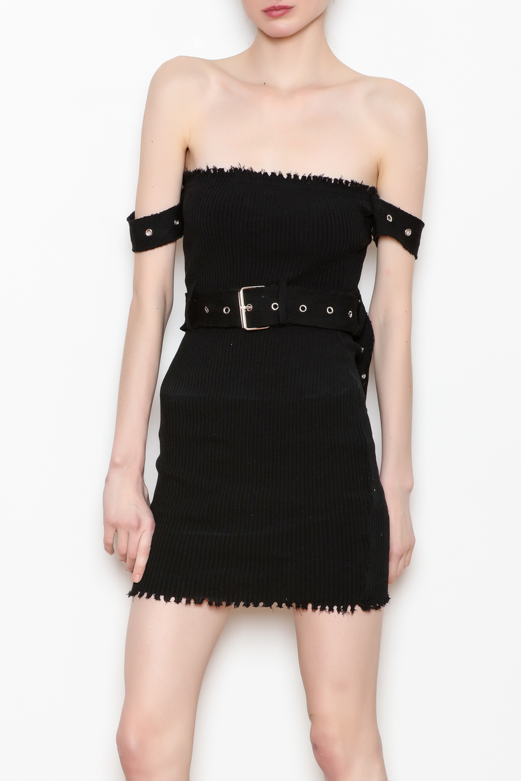 hot and delicious Belted Ribbed Dress - Main Image