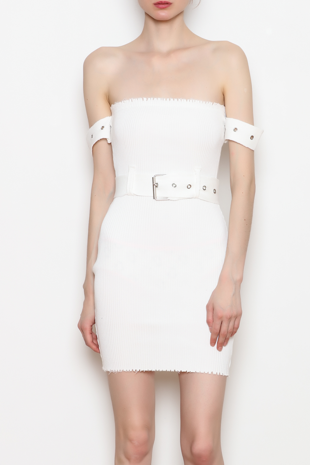 hot and delicious Belted Ribbed Dress - Front Cropped Image
