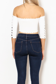 hot and delicious Button Sleeve Top - Back cropped