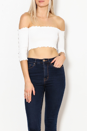 hot and delicious Button Sleeve Top - Front cropped