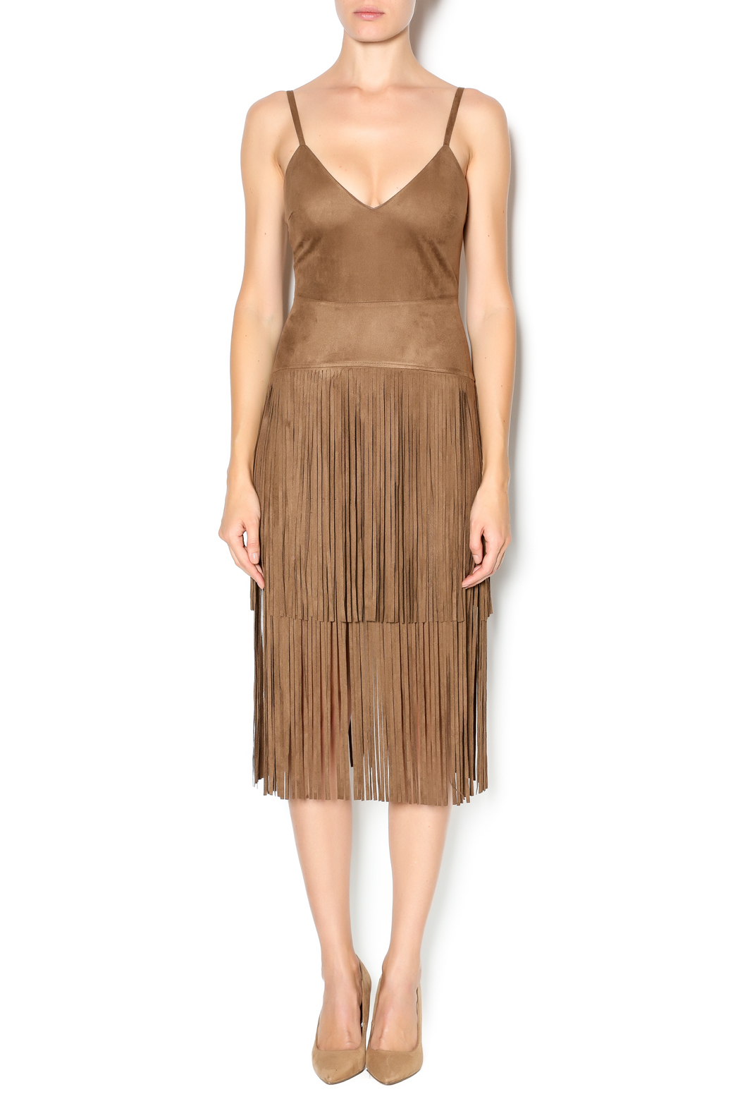 Hot & Delicious Fringe Dress - Front Cropped Image