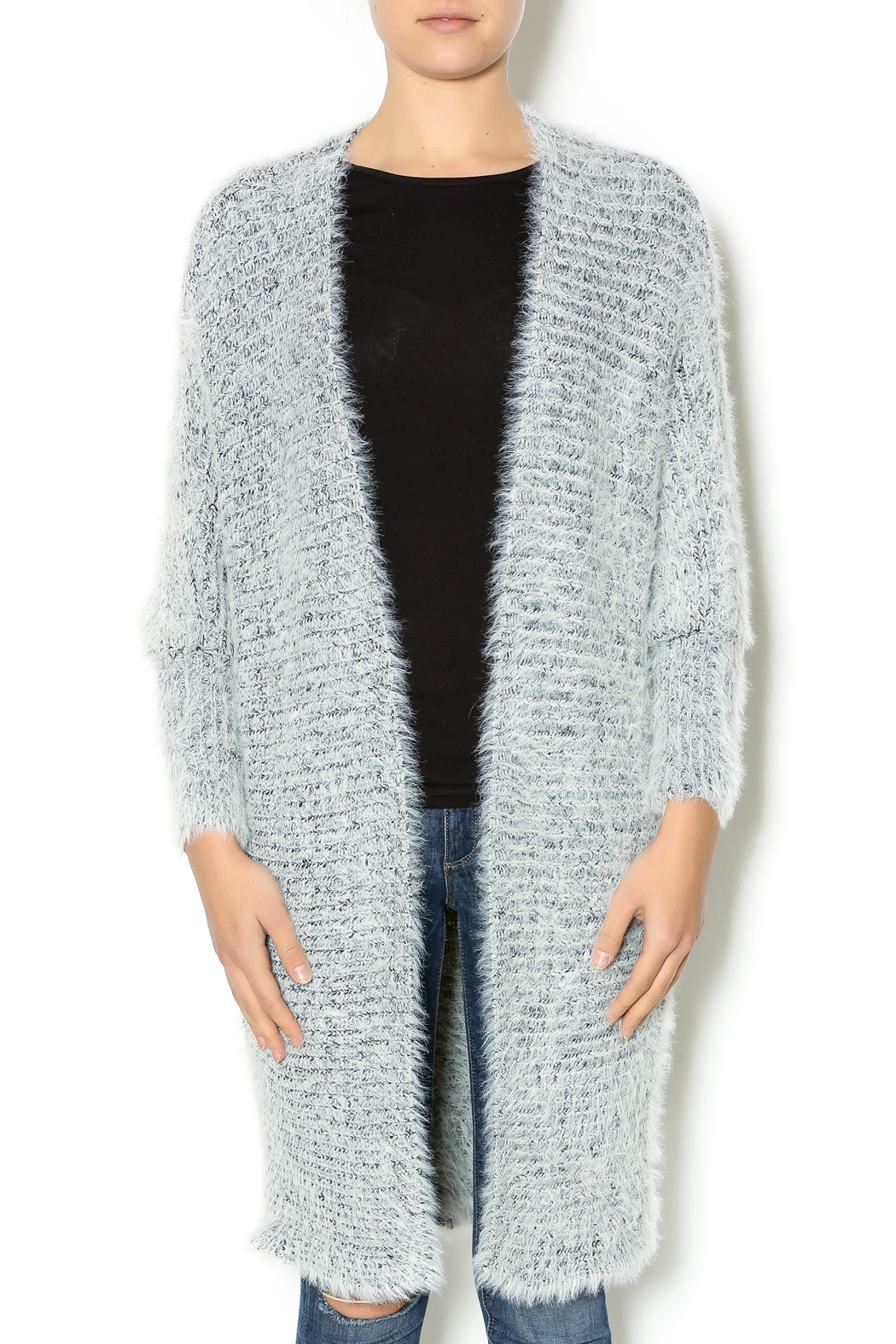 Hot & Delicious Oversize Fuzzy Cardigan - Front Cropped Image