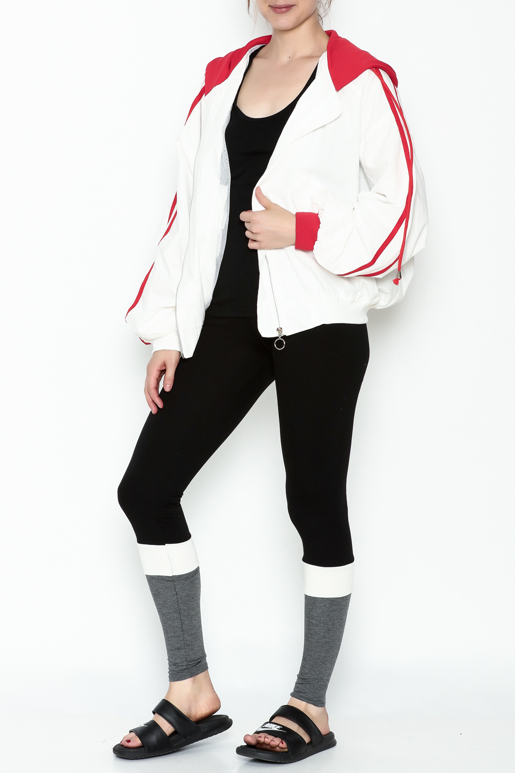 hot and delicious Sporty Hooded Jacket - Side Cropped Image