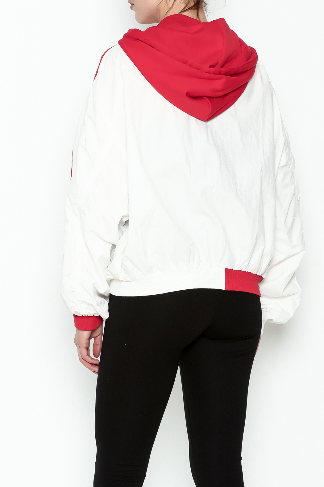 hot and delicious Sporty Hooded Jacket - Back Cropped Image