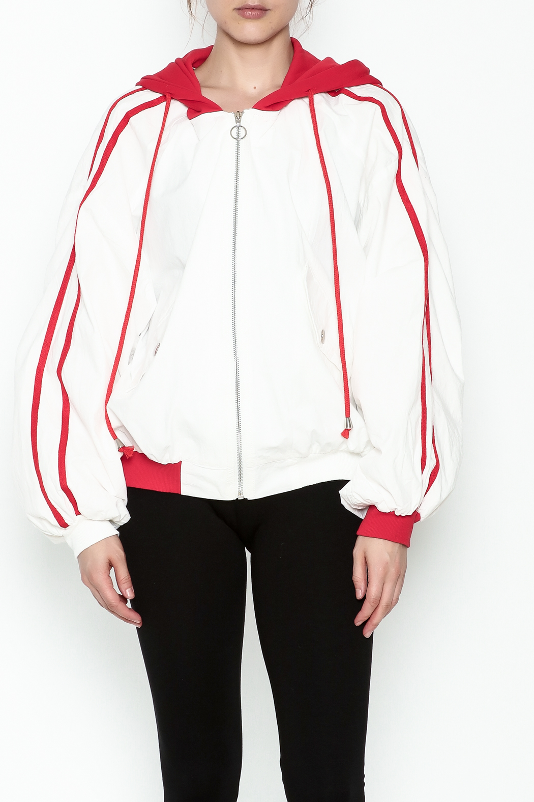hot and delicious Sporty Hooded Jacket - Front Full Image