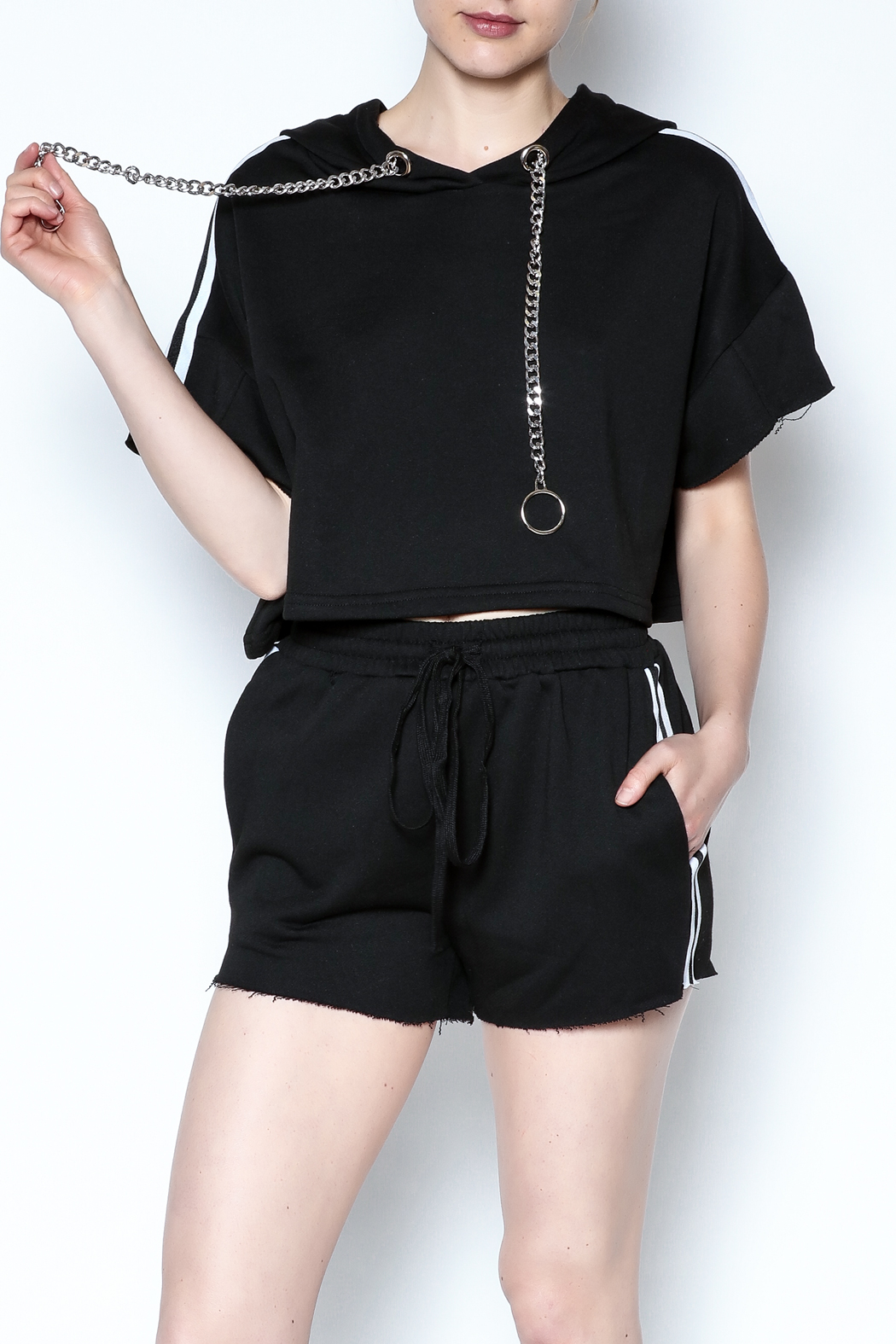 hot and delicious Side Stripe Short Set - Front Cropped Image