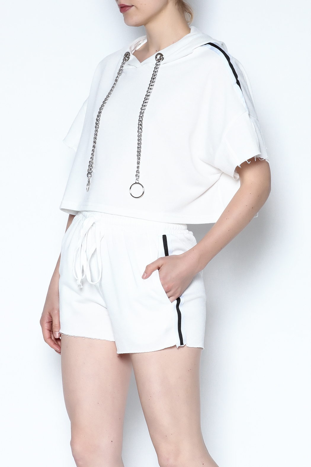hot and delicious Side Stripe Short Set - Main Image